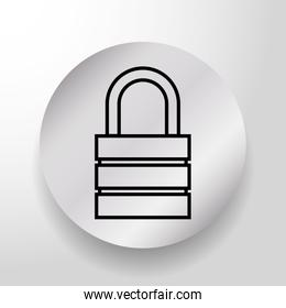 Security padlock on round button