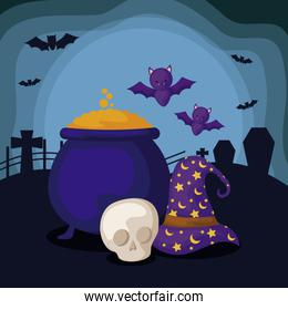 hat with cauldron of witch and icons halloween