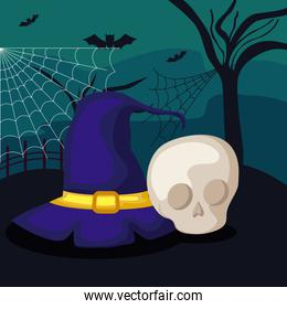 witch hat with skull in scene halloween