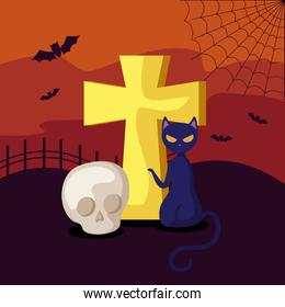 cat with skull and cross in scene halloween