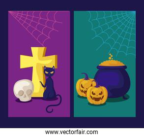 set of cards with pumpkins and icons halloween