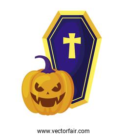 halloween pumpkin with coffin isolated icon