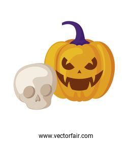 halloween pumpkin with skull isolated icon