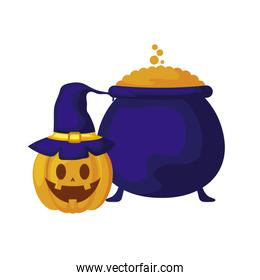 halloween pumpkin with cauldron of witch