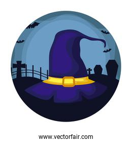 hat of witch over halloween background