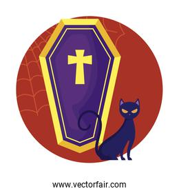coffin spooky and cat halloween design
