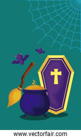 cauldron with set icons of halloween