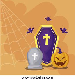 tombstone with icons in scene halloween