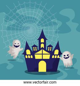 haunted castle with ghosts of halloween
