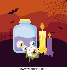 potion magic with icons in scene halloween