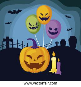 pumpkin with icons in halloween scene
