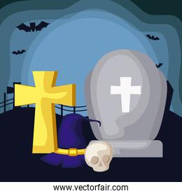 tombstone with set icons in scene halloween