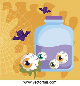 potion magic halloween with bats flying
