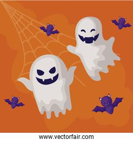 ghosts mysteries with icons of halloween