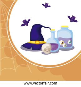 potions magic with icons in scene halloween