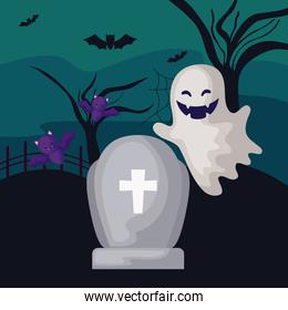 tombstone with ghost and bats flying in scene halloween