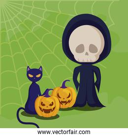 cute boy disguised of death and icons halloween