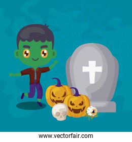 cute boy disguised of frankenstein and icons halloween