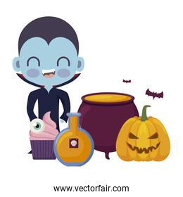 cute boy disguised of vampire with icons halloween