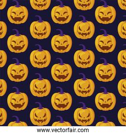 pattern of halloween pumpkin with scary face