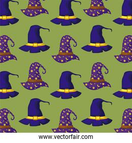 pattern of wizard hat and hat of witch