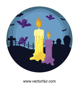 cartoon of candles with icons in scene halloween
