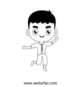 silhouette of boy disguised of frankenstein on white background
