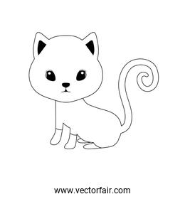silhouette of cute black cat on white background