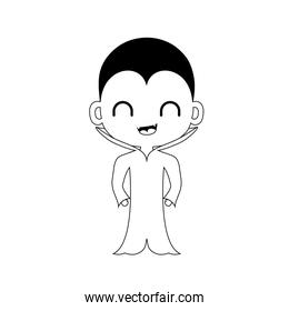 cute boy disguised of vampire on white background