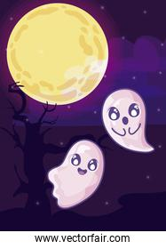 halloween ghost with moon in cemetery scene