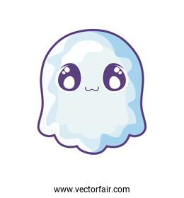 funny halloween ghost on white background