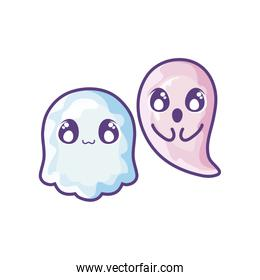 funny halloween ghosts on white background