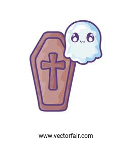 wood coffin with christian cross on white background