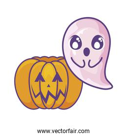 halloween pumpkin with ghost on white background