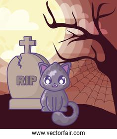cute cat with graveyard tombstone on halloween scene