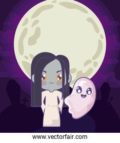 girl disguised as a zombie with ghost