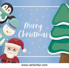 merry christmas label with icons of xmas