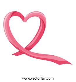 breast cancer ribbon on white background