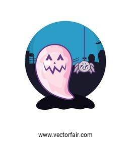 funny halloween ghost with spider on halloween scene