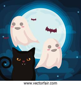 cute cat with ghosts on halloween scene