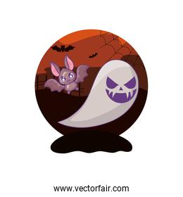 bat flying with ghost on halloween scene