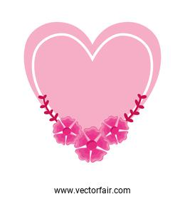 cute pink heart with flowers over white