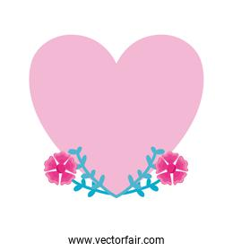 cute pink heart with flowers on white background