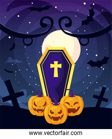 coffin with christian cross and pumpkins on cemetery scene