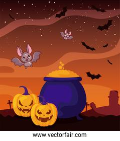 cauldron bubbly of witch on halloween scene