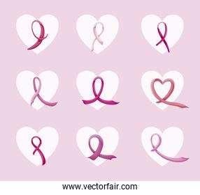 bundle breast cancer with ribbon pink