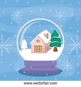 crystal ball with house and christmas tree
