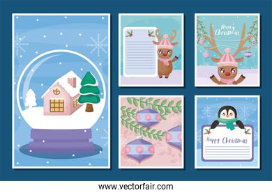 set of cards of merry christmas