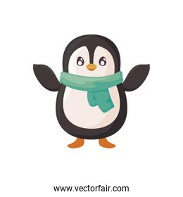 cute penguin with scarf on white background