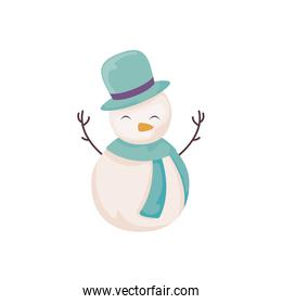 cute snowman with hat and scarf on white background